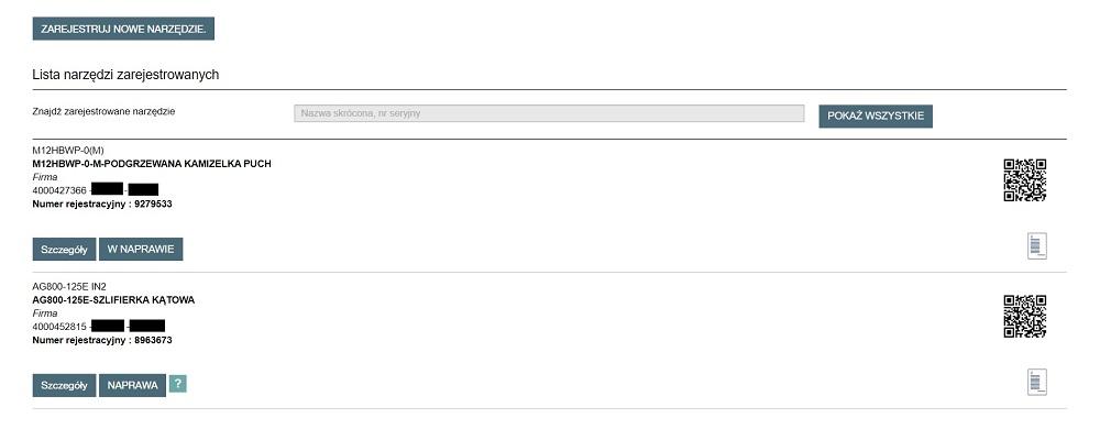 Przykładowy wygląd indywidualnego konta w serwisie E-Service