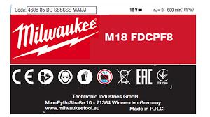 Tabliczka znamionowa elektronarzędzi Milwaukee